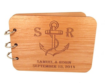 Wooden Anchor Guest Book - Real Wood Covers