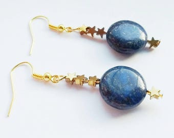 Lapis Lazuli Earrings, Gold Hematite Earrings, Gold Star Earrings, Lapis Earrings, Dark Blue Earrings, Hematite Star Earrings, Valentines