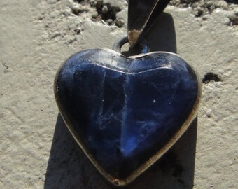 vintage sterling silver and lapis heart pendant stamped boho southwest jewelry