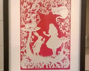 Alice's Adventures In Wonderland, Fairy Tale, Wall-Decor, Cheshire Cat, Handcut, Handmade, Framed, Papercut, Rabbit.