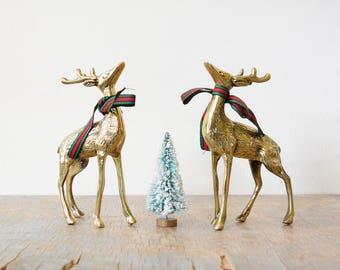 vintage brass deer figurines, pair of spotted brass deer, christmas holiday decor,  mid century modern decor
