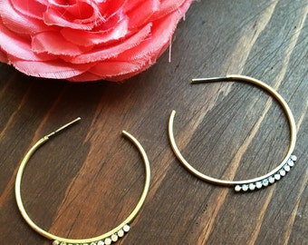 Hoop Earrings with Ball Beads - Brass and Sterling Silver