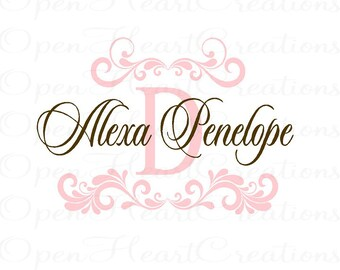 Girl Name Wall Decals with Shabby Chic Elegant Accents - Baby Nursery Vinyl Wall Decal with Initial Name for Teen 28h x 48w FN0414