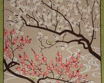 Japanese Fabric Square Furoshiki 'Plum Blossoms and Birdies' Cotton 50cm w/Free Insured Shipping
