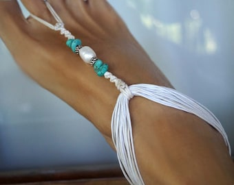 Beach Wedding Barefoot Sandals, Turquoise Barefoot Sandals, Bridal Barefoot Sandal, Pearl Barefoot Sandal, 1 Pair
