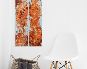 Original duo, abstract acrylic painting on 100 cm x 20 cm canvas, acrylic pouring, fluid art, modern art, abstract painting, wall decor