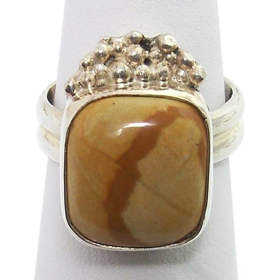 Picture Jasper Ring Set in Sterling, Silver Size 7  r7pje1450