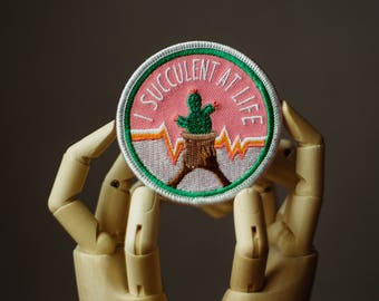 Succulent Patch | Sew on | Embroidery | Patch for Jackets | Cactus Patch | Gardening Patch | Tumblr Patch | Back Patch | Cute Patch | Custom