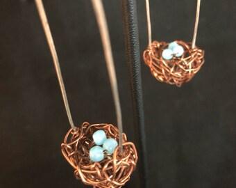 Copper Nest Earrings - Nest Earrings - Copper Earrings - Nest/Egg Earrings - Nest and Egg Earrings - Boho - Animals -  Birds Nest Earrings -