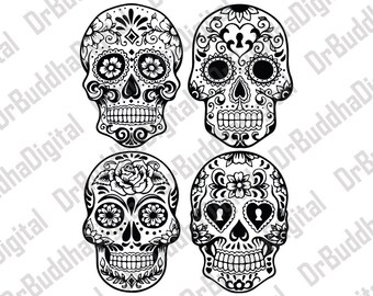 Sale! Sugar Skull SVG Collection - Candy Skull DXF - Sugar Skulls Clipart - SVG Files for Silhouette Cameo or Cricut