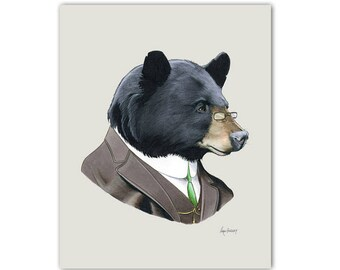 Black Bear - Papa Bear - Bear Art - Nursery Art - Three Bears - art print - kids room - modern decor - woodland theme - Ryan Berkley 11x14