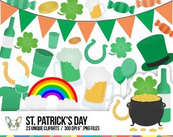 St. Patrick's Day Clipart Set, Irish Clipart, Shamrock Clipart, Clover Clipart, Pot of Gold Clipart, Planner Clipart, Scrapbooking Cliparts