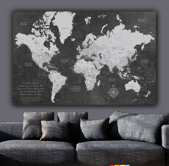 Current push pin world map one panelgallery wrapped art current push pin world map one panelgallery wrapped art world map canvas push pin map large wall art travel gifts fathers day gift gumiabroncs Gallery