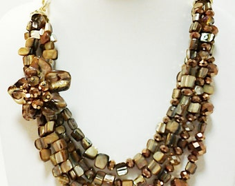 Brown and Gold Four Strand Flower Necklace / Brown and Gold Chain Sea Shell Neckace.