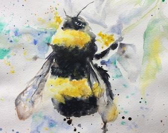 Bumble bee print -  watercolour painting - Giclee print - bee - wall art - modern - A4 & A3