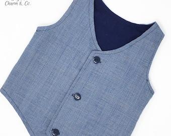 Boys Steel Blue Plaid Vest, Toddler Blue Vest, Infant Vest, Boys Rustic Wedding Vest, Ring Bearer Outfit, Boys Vest, Boyish Charm