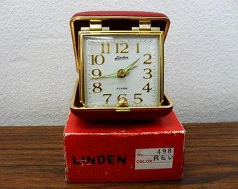 Vintage Linden Gold Tone Bedside Mechanical Travel Alarm Clock