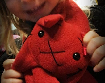 Red Cat Animal Scarf, Short or Exra Long Red Kitty Cat Stuffed Animal, kid and adult MADE TO ORDER