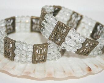 Bronze and glass beaded bracelet