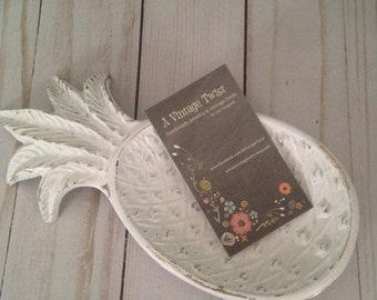 Vintage Brass Pineapple Trinket Dish/Shabby Chic/Business Card Holder/Key Holder/Change Dish/Jewelry Holder