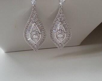 Crystal teardrop earrings, wedding earrings, cubic zirconia bridal earrings, wedding gifts, earrings, bridal, bridesmaid jewellery.