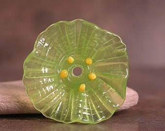 Glass Flower Focal Bead, Lampwork Flowers, Art Glass Flower Focal,  Lime Green, Divine Spark Designs, SRA