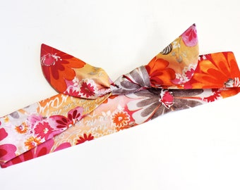 Tropical Neck Cooler, Stay Cool Tie Bandana Wrap, Body Head Heat Relief Cooling Headband, Pink Orange Floral Knotted Spa Hairband iycbrand