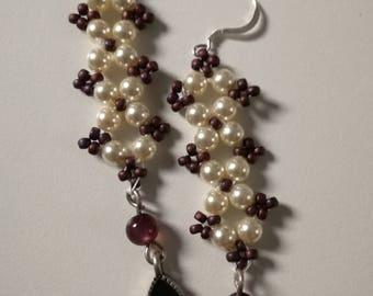 Vintage style,dropper earrings,pearl,swarovski crystal,earrings,Sterling Silver