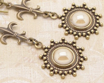 Shabby Chic Earrings with Cream Swarovski Pearl Dangles and Fleur de Lis