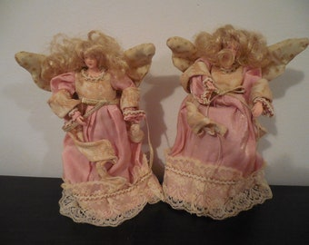 victorian angel, hanging angels, angel decor, angel ornaments, set of two, gold angel, pink angels