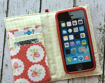 iPhone wallet case - blush tea rose wallet with removable gel case