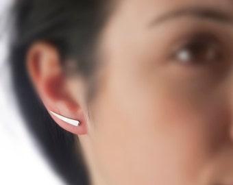 Titanium earrings, silver ear climber, ear cuff, silver earring elf, pure titanium, small earring elegant, minimal, fairy jewelry, elf ear