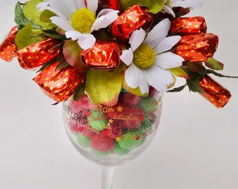 Glass with strawberries. Candy bouquet. Strawberry caramel. Candy arrangement