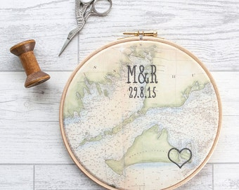 """Cotton anniversary gift: Vintage map in 7"""" wooden hoop and embroidered with heart or house, date and monogram"""
