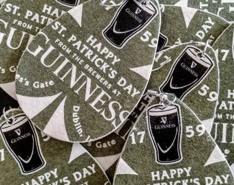 Guinness St. Patrick's Day Earrings - Repurposed Cardboard Beer Coaster Earrings