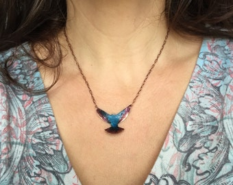 Small copper bird necklace with Caribbean blue over blackberry wine patina