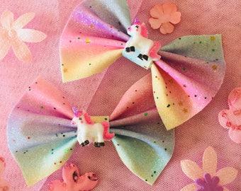 Rainbow Shimmer Unicorn Bow