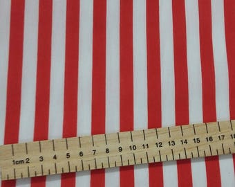 Red and White Stripes Striped Polycotton fabric 44 inch / 110cm Nautical Seaside