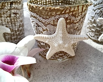 Starfish Votive Candle Holder.   Knobby white Sea Star on an adorable burlap and lace votive/ tea light holder.  Sold in a set of 3