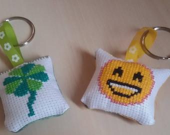 Allegri embroidered in cross stitch keychain