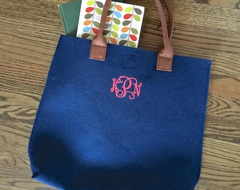 Monogrammed Felt Tote - Choose Your Monogram Style and Color - 5 Bright Colors Available
