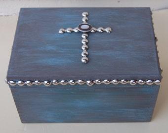 Silver Nailhead Cross Wood Box, Wooden Boxes, Crosses, Cross Home Decor