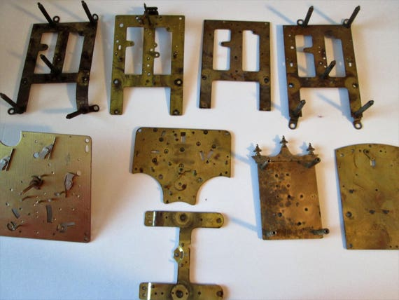 9 Assorted Solid Brass Antique Clock Frames with Hardware for Parts, Clock Projects,  Steampunk Art & Etc...