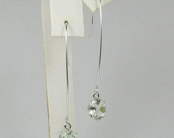 Memorial Day Sale Prasiolite Green Amethyst 9x7mm 3.30ctw Sterling Silver Drop Earrings