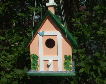 Handpainted Birdhouse - Country Church - One Opening - Large - Wooden