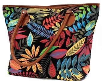 Shopping bag, jungle, leaf design