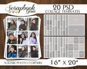 """TWENTY (20) 16"""" x 20"""" Digital Photo Collages / Storyboard Templates, PSD Format, Photo Scrapbook Template Collage"""