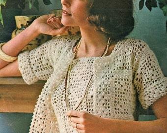 Filet Crochet Pattern, Womens Crochet Top Pattern, Crochet Clothing Pattern, Summer Crochet Pattern, INSTANT Download Pattern in PDF (1114)