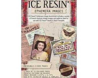 French inspired vintage ephemera images ice resin Susan Lenart Kazmer