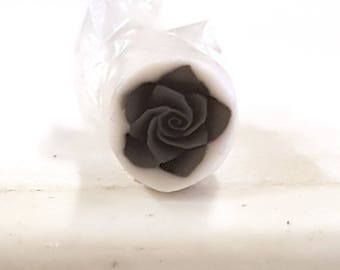 Black Rose Cane, Polymer Clay Flower Cane Raw Fimo Millefiore